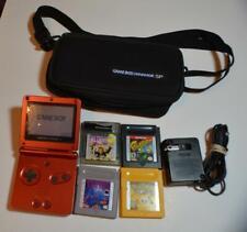 Nintendo Game Boy Advance SP Red system w/bag,power,4 games Yellow Pokemon