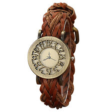H1 Ladies retro style hollow quartz leather hemp rope Woven Belt Watch H6K7