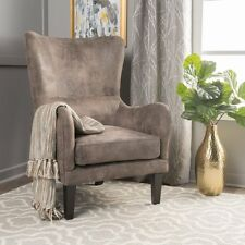 Salerno Gray/Brown Fabric high-backed Chair Lounge ArmChair