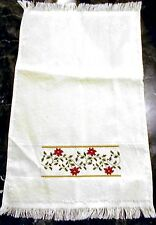 "CROSS STITCH GUEST TOWEL CHRISTMAS HOLLY - 10.5""X18 FREE SHIPPING-HANDMADE"