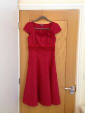 PER UNA Red Cap Sleeve Calf Length Fitted Linen Dress Size 8R - Hardly Worn £69