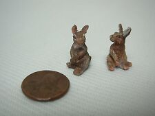 "2 VINTAGE DOLLHOUSE MINIATURE TEENY TINY 3/4"" SITTING RABBIT FIGURES"
