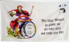 Fahne Bier König mit Bierfass, Königliches Gebräu Spruch, 1,5x 0,9Meter Neu #377