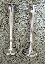 New Vintage Matching Set of 4 Silverplate Candlestick Holders beaded edge 10 ""
