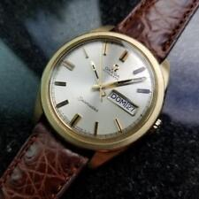 Omega Seamaster Vintage 1970s Solid 18k Gold Swiss 36mm Mens Watch on Croc LV414