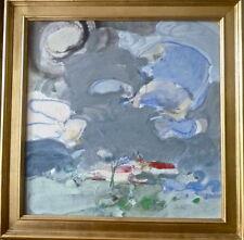 """Pierre CHIEZE (1929-2011): gouache sur toile """"Village"""",40x40cm,signée, cadre"""