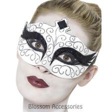 A901 Gothic Swan Costume Mask Black White Jewelled Romantic Masquerade Fantasy