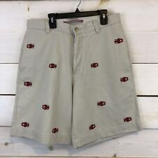 Washed Stoned & Beaten Embroidered Lobsters Khaki Chino Shorts Berle 32