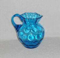 "Antique Blue Inverted Thumbprint 8"" Blown Art Glass Pitcher with Crimped Rim"