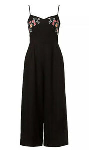 *New + Tag* SPORTSGIRL Size 16 Black Linen Embroidered JUMPSUIT Wide Leg $119