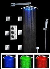 """Luxury Bathroom Rainfall Shower Head Set 12"""" LED Wall mount Massage Jets Spray"""