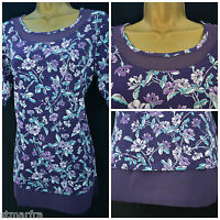 NEW M&CO LADIES TOP TUNIC PURPLE TEAL WHITE LILAC FLORAL SUMMER SIZE 10 - 20