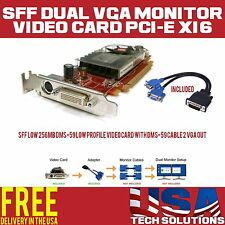 Dual VGA Monitor Video Card PCI-e x16 Low Profile