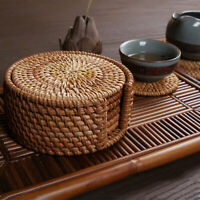 6Pcs/Set Tableware Drink Coasters Set Round Placemat Dish Mat Rattan Weave Pad