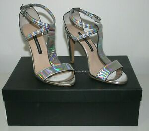 French Connection Holographic Metallic Heels Silver Size 6 New