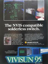 11/1990 PUB VIVISUN SERIES 95 SWITCH NVIS NIGHT VISION GOGGLES PILOT HELMET AD