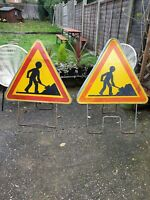 FRENCH VINTAGE MEN AT WORK USED ROAD TRAFFIC SIGN WITH BASE