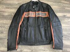 Harley Davidson Mens Black Orange Classic Riding Leather Jacket M 98014-10VM New