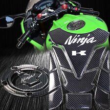 Real Carbon Fiber Gas Tank Pad+Fuel Cap Cover Guard 07+Ninja ZX-6R/10R/14R/650