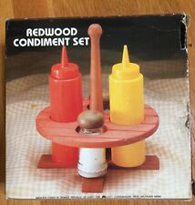Vintage Redwood Round Picnic Table Condiment Set S & P Ketchup Mustard New Box