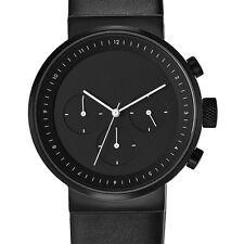 Projects Watches Kiura Black Cronografo Quarzo Acciaio Nero Pelle Uomo Orologio