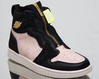 """Air Jordan 1 High Zip """"Silt Red"""" Women's New Black Gold Sneakers AQ3742-001"""
