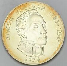 1974 PANAMA 20 BALBOAS SILVER ROUND BU UNC TONED #2