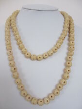 Vintage Huge 1920's Long Strand of Chinese Carved Bone Bead Necklace 118 gr.