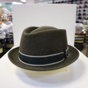BORSALINO DENIM OLIVE TRILBY FUR FELT FEDORA DRESS HAT *READ BELOW 4 SIZE*
