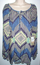 WOMENS TUNIC TOP SIZE 1X MULTI COLOR LONG SLEEVE NEWw/TAGS LOW SHIP