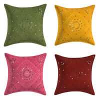 Indian Hand Embroidered Cushion Cover Bedding Sofa Pillowcase Throw 4PCS Set