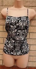 RIVER ISLAND BLACK WHITE SILKY FEEL STRAPPY PAISLEY FLORAL BLOUSE TUNIC TOP 12 M