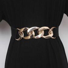 Women Fashion Belts Elastic PU Thick Chain Waist Strap Coat Decorative Waistband