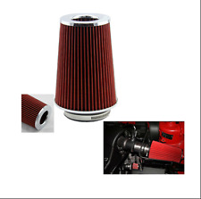 New 3 inch Car Long Ram Cold Air Intake Filter Cone Air Filter Red Universal