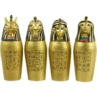 Set of 4 Egyptian Gold Canopic Jars Ancient Egypt Decorative Treasures