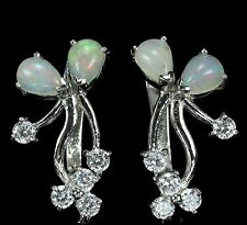 """SENSATIONAL!! RARE!! NATURAL TOP QUALITY MULTI COLORED OPAL 925 EARRINGS 1"""""""