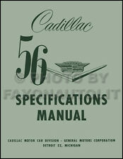 1956 Cadillac Optional Specifications Manual 62 Eldorado Deville 60 75 Fleetwood