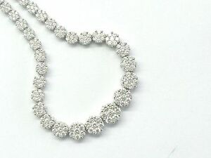 "Fope Gioielli 18Kt Diamond Circular Cluster Tennis Necklace WG 16"" 5.00Ct VS1"