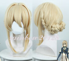 """16"""" Blonde Violet Evergarden Weiou Ruite Two Buns Anime Cosplay Wig"""