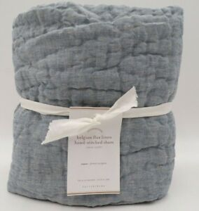 Pottery Barn Belgian Flax Hand Stitched Quilted Euro Soft Sham Chambray #9987