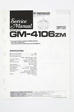 Pioneer GM-4106ZM Original Power Amplifier Service Manual/Wiring Diagram/Diagram