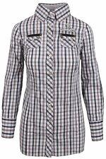 L' ARGENTINA Damen Long Bluse Women Shirt Gr. 38 M Baumwolle & Elasthan Kariert