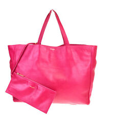 Authentic SAINT LAURENT Logo Shoulder Tote Bag Leather Pink Italy 31MB133