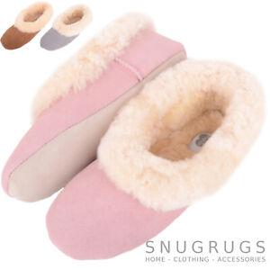 Ladies / Womens Ballerina / Pump Sheepskin Slipper with Soft Suede Sole