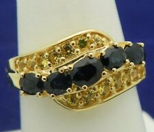 SAPPHIRE & YELLOW TOPAZ BAND RING SOLID 14 K GOLD 4.8 g SIZE 7.25