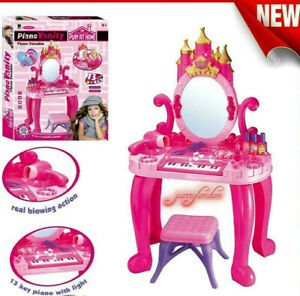 GIRLS PINK VANITY TABLE KIDS DRESSING MIRROR MAKE UP DESK TOY PLAY SET