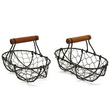 Oval Chicken Wire Egg Baskets Rust Gathering Baskets with Wooden Handle. S/2