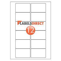 Premium White Video Face Labels. 12 Per Sheet. Laser Inkjet Copier Printers