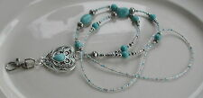 """Cheyenne Heart"" Turquoise Gemstone Beads ID Lanyard Badge Holder Handmade"