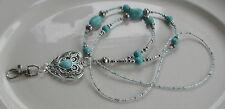"""""""Cheyenne cœur"""" Turquoise Pierres précieuses perles ID Lanyard Badge Holder Handmade"""
